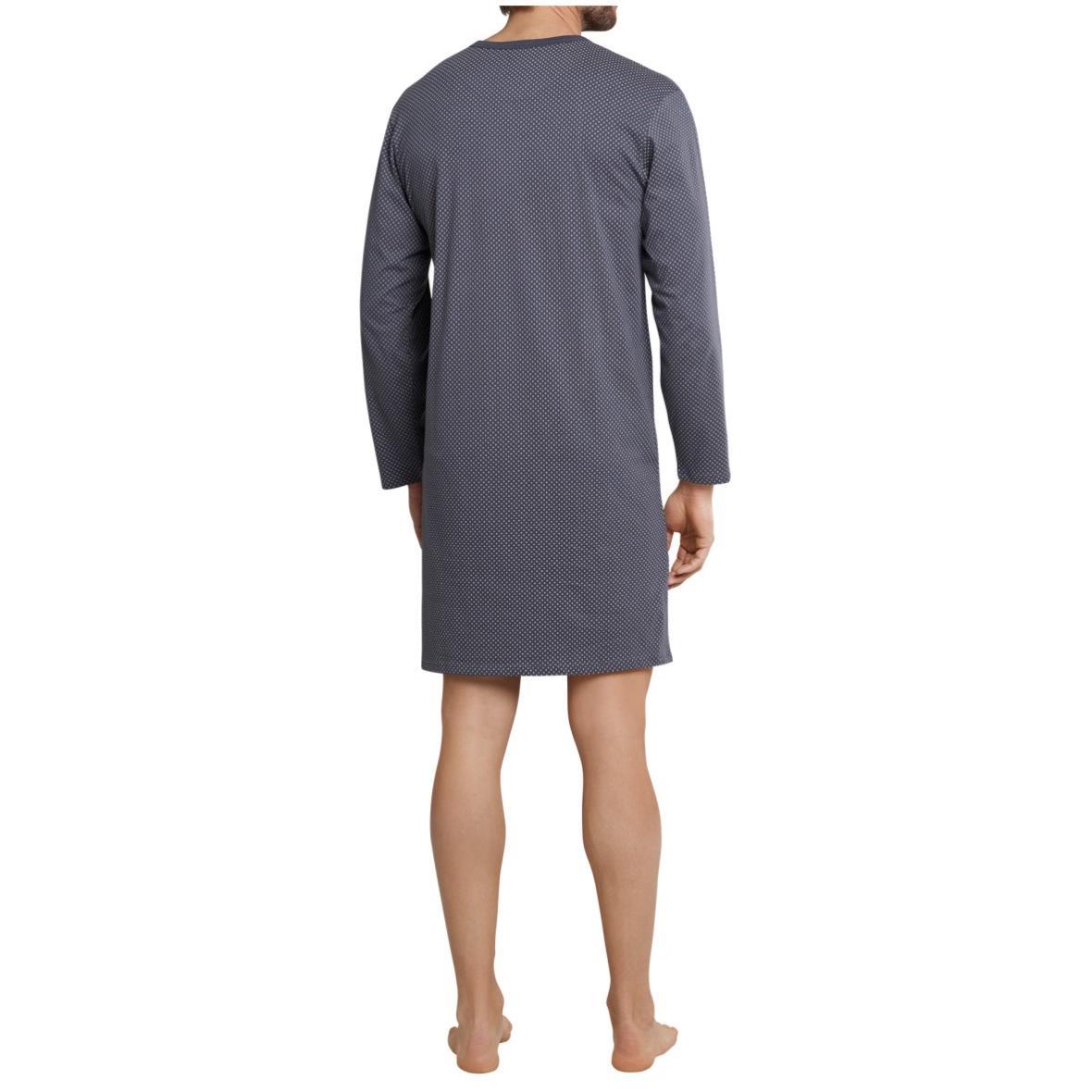 SCHIESSER Herren Nachthemd langarm Serafino-Kragen anthrazit-weiß bedruckt Ebony